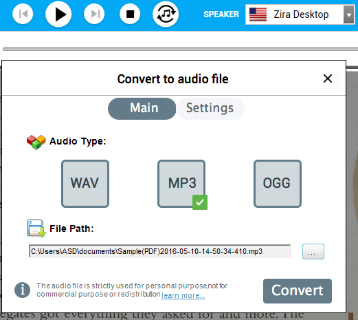 Covert to audio file