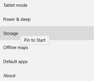 Pin settings to start menu