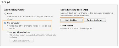 Backup using iTunes
