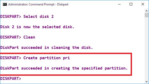 Create partition pri