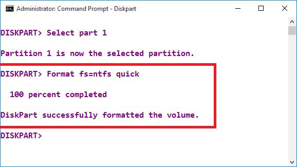 Format fs=ntfs quick