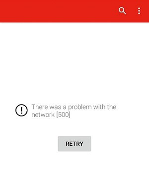 YouTube 500 Error