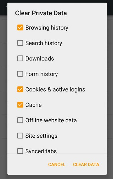 Firefox mobile Clear Private Data