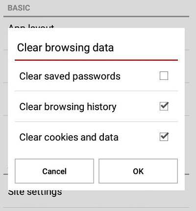 Opera for mobile Clear browsing data