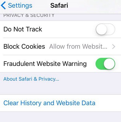 Safari for iOS Clear History and Website Data
