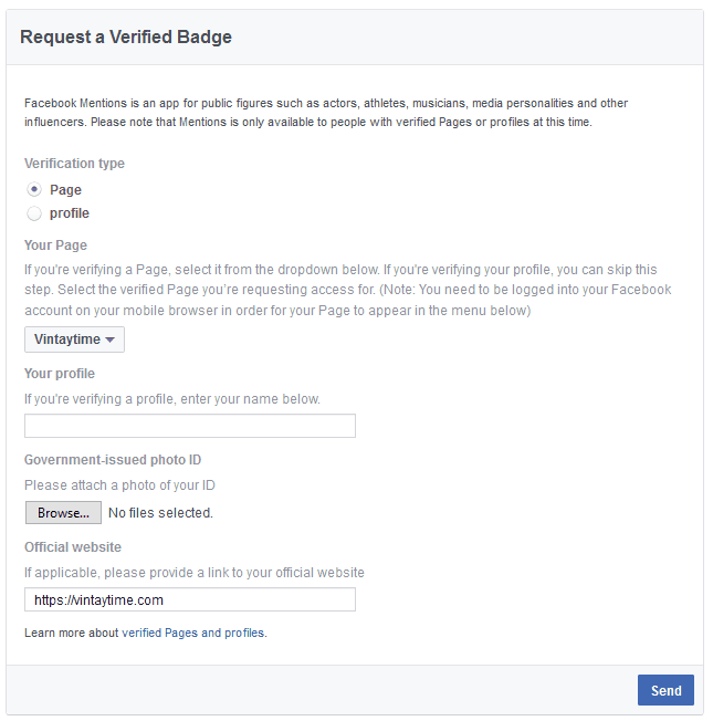 facebook_Request a Verification Badge page