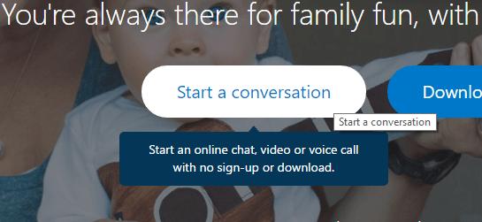 Start a Conservation skype web
