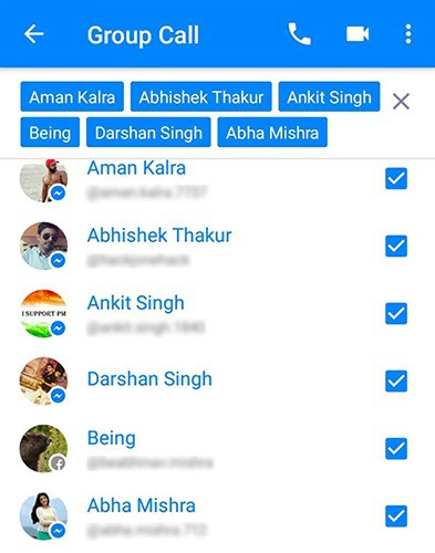 Messenger app video call select users