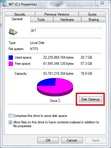 disk cleanup utility w7