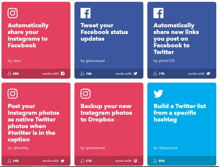 ifttt-Social networks applets