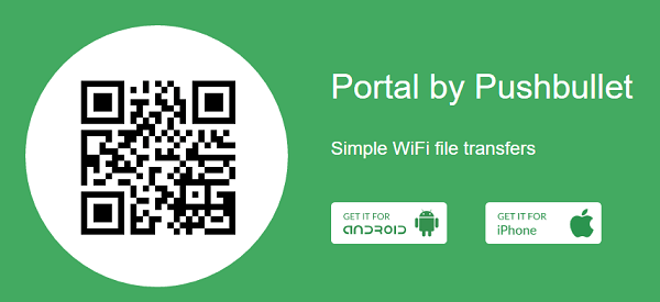 Portal by Pushbullet website