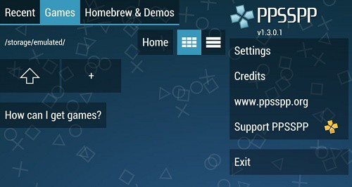 PPSSPP emulator on your Android