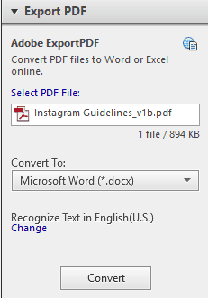 Acrobat convert pdf to word