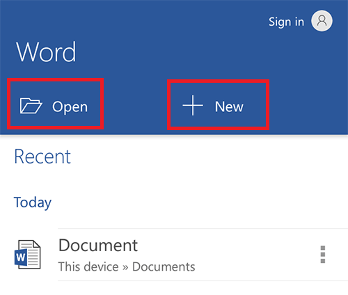 ms-word-android-open-new