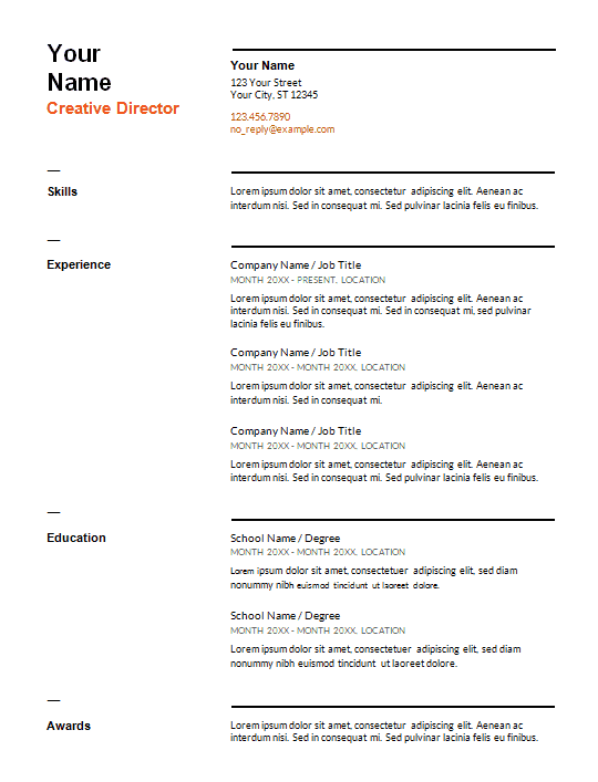 resume-template-format-resume-swiss