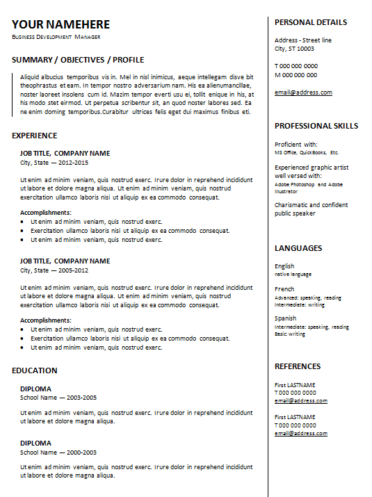 resume-template-format-thick-2-column