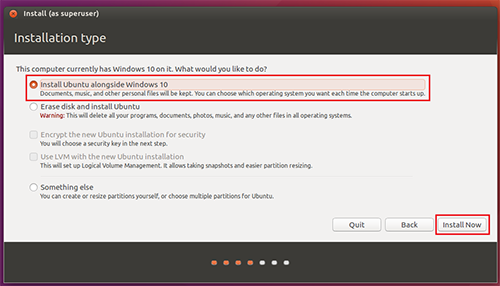 Install Ubuntu Alongside