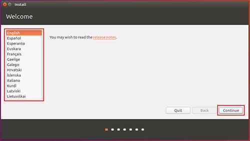ubuntu-Select your language