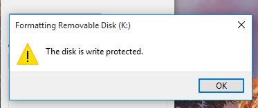 The disk is write protected Windows